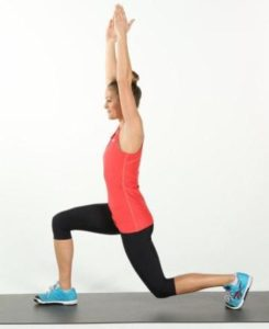 Walking lunge with overhead reach