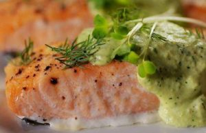Baked Salmon with Avocado-Dill Yogurt
