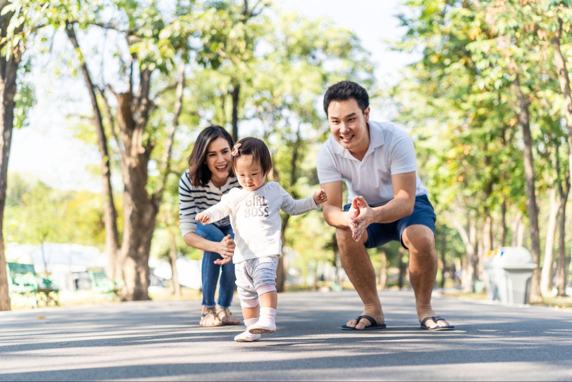happy family walking exercise