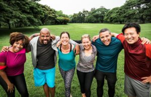 happy group of people - healthy - working out